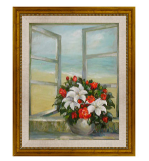 Hand brush stroke canvas painting framed art window flower