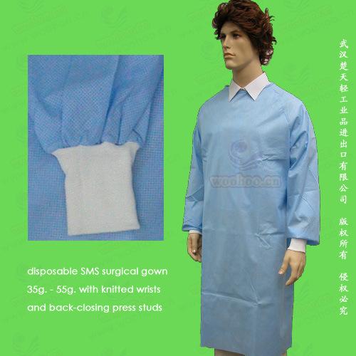 Non-Woven/Non Woven/Nonwoven Disposable Surgical Gown, Disposable Isolation Gown