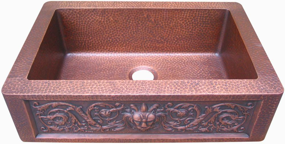 Copper Corner Sink : China Lion Design Single Bowl Copper Farm Sink (KS33229-29A-HH-CES-I ...