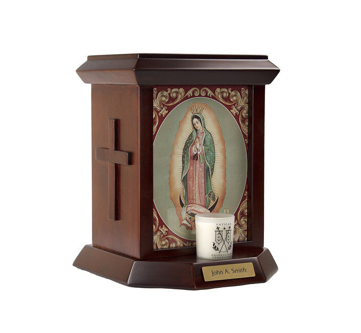 Jesus Sacred Heart Wooden Urn
