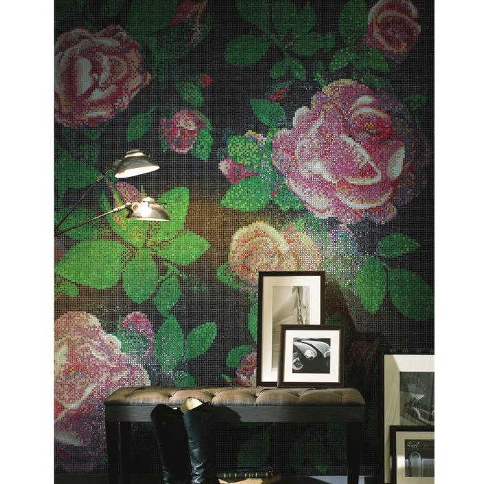 Rose Mosaic Wall Pattern Red Glass Mosaic Tile Backsplash Mosaic Tile