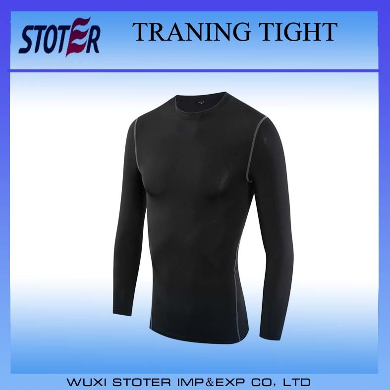 Tight Professional Clothing Sports Training Mens Black Compression Wear