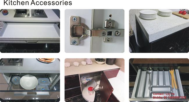UV Wooden Grain MDF Kitchen Cabinet (ZH09)
