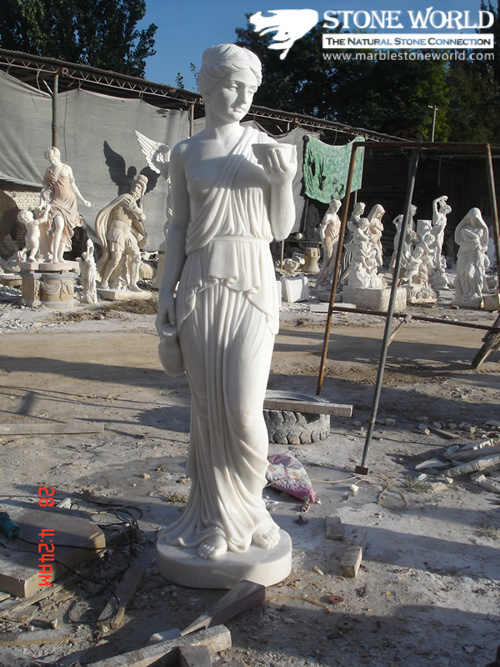 White Marble Figure Statue / Marble Figure Carving for Garden Ornament