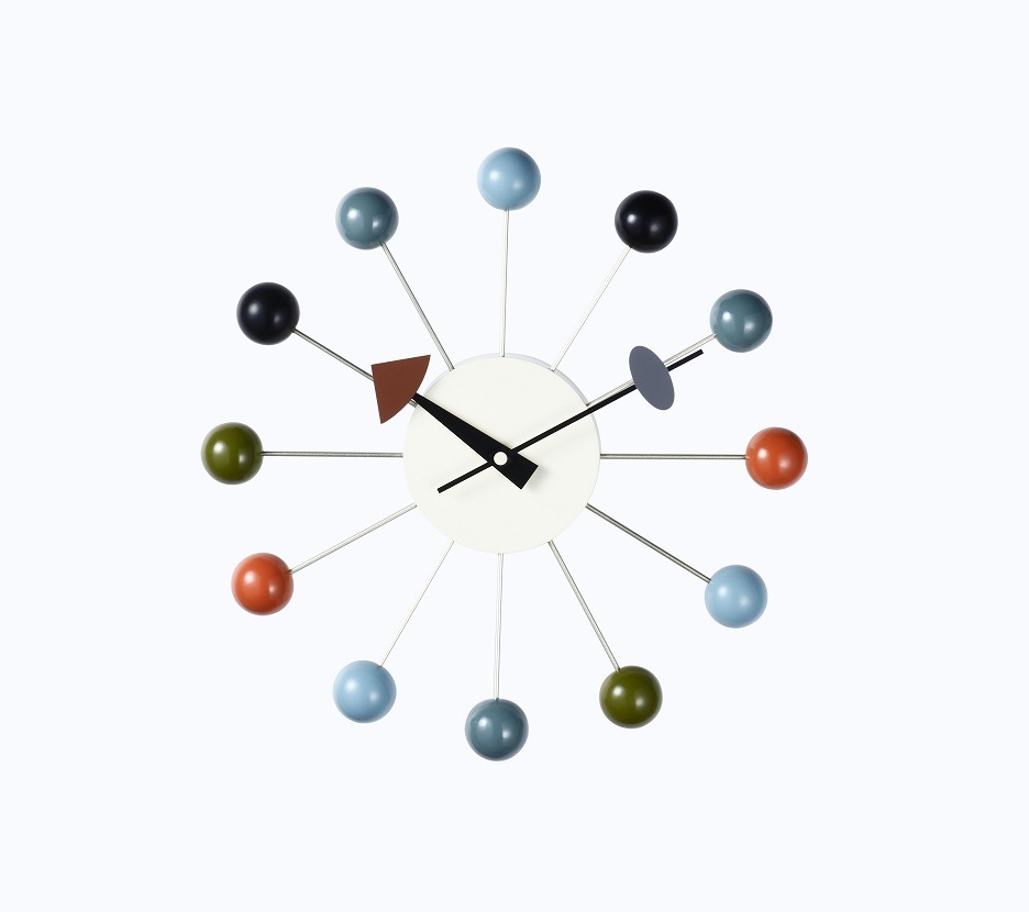 """13"""" Wall Multi Color Solid Wood Ball Clock"""