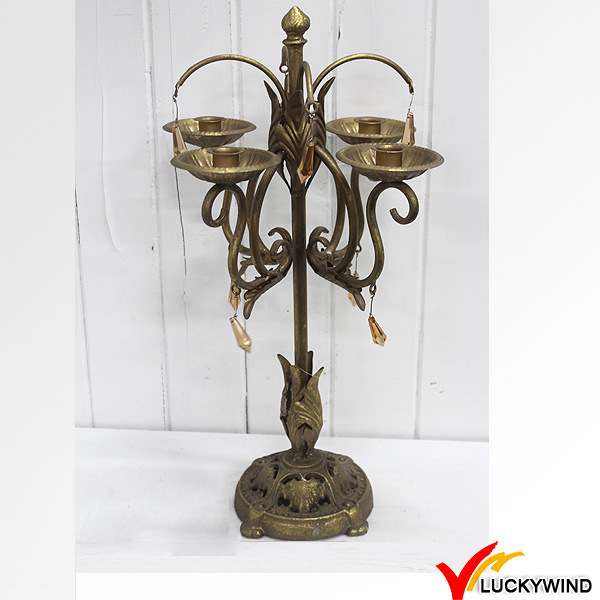Golden Finish Antique Iron Candelabra with Hanging Crystals