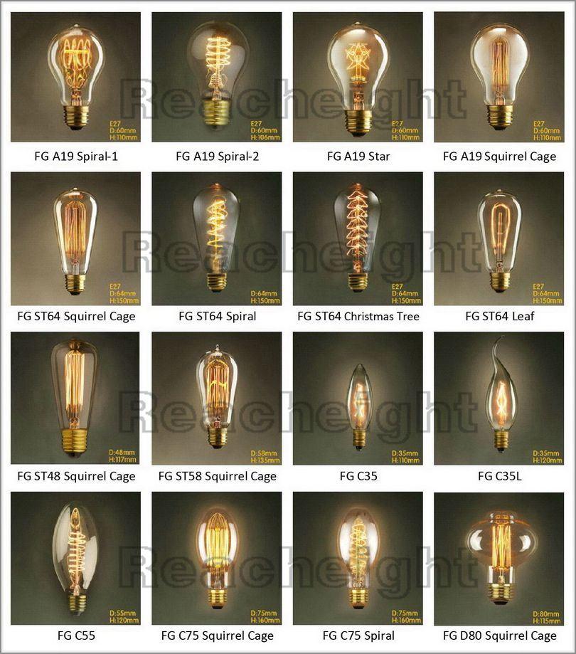 A19 110-240V 40W-60W Vintage Tungsten Edison Bulb
