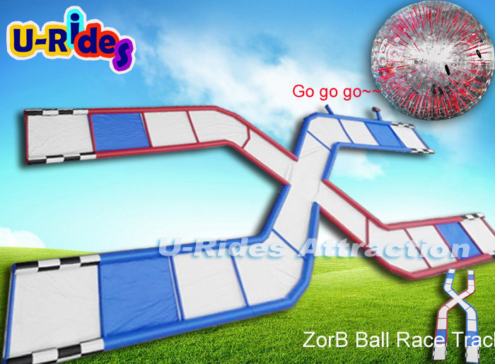 Newest sports game Inflatable zorb ball race track rolling down slope for event