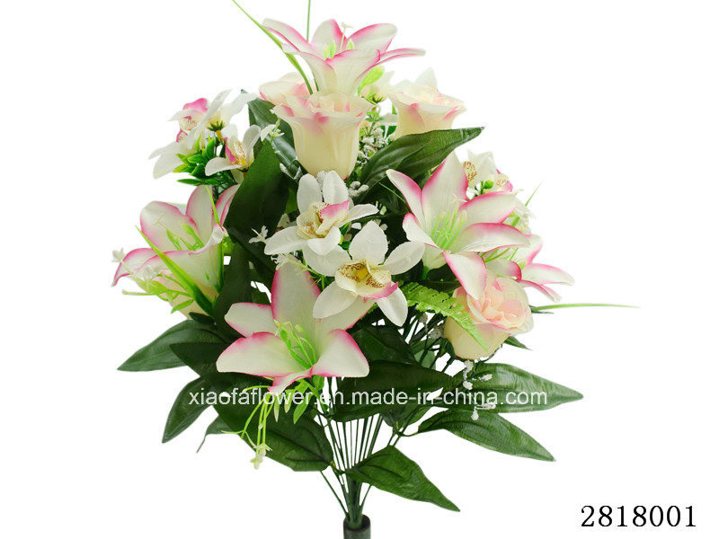 Artificial/Plastic/Silk Flower Rose/Lily/Orchid Mixed Bush (2818001)