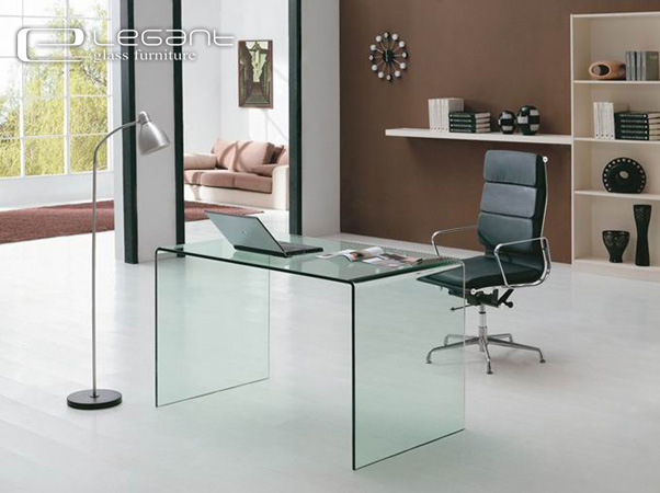 Hot Sale Modern Office Desk with Clear Glass Top