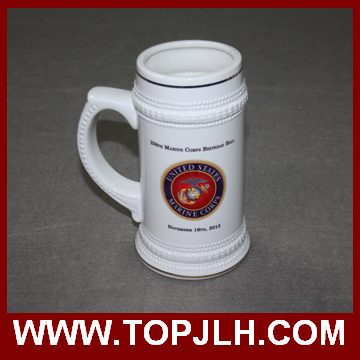 22 Oz Ceramic Beer Mug with Gold Rim