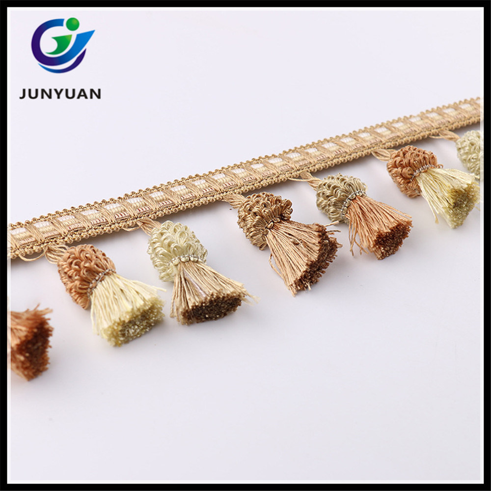 Rayon Material Tassel Fringe Trimming for Curtain and Home Decor