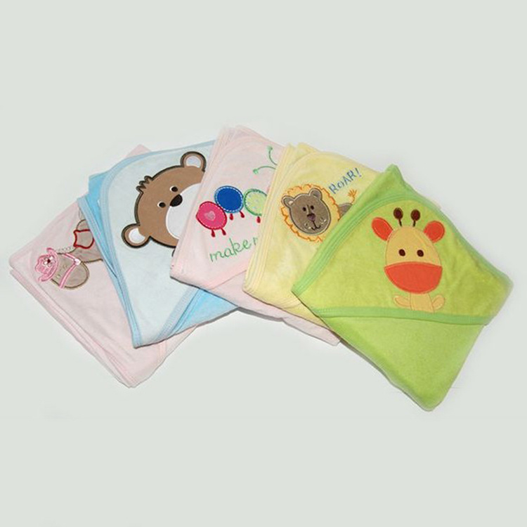 Wholesale Emboidered Cotton Terry Hooded Baby Towel