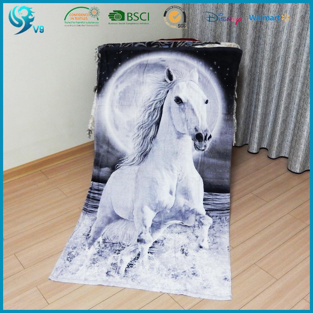 100% Cotton Velour Reactive Printed Custom High Quality Printing Towel