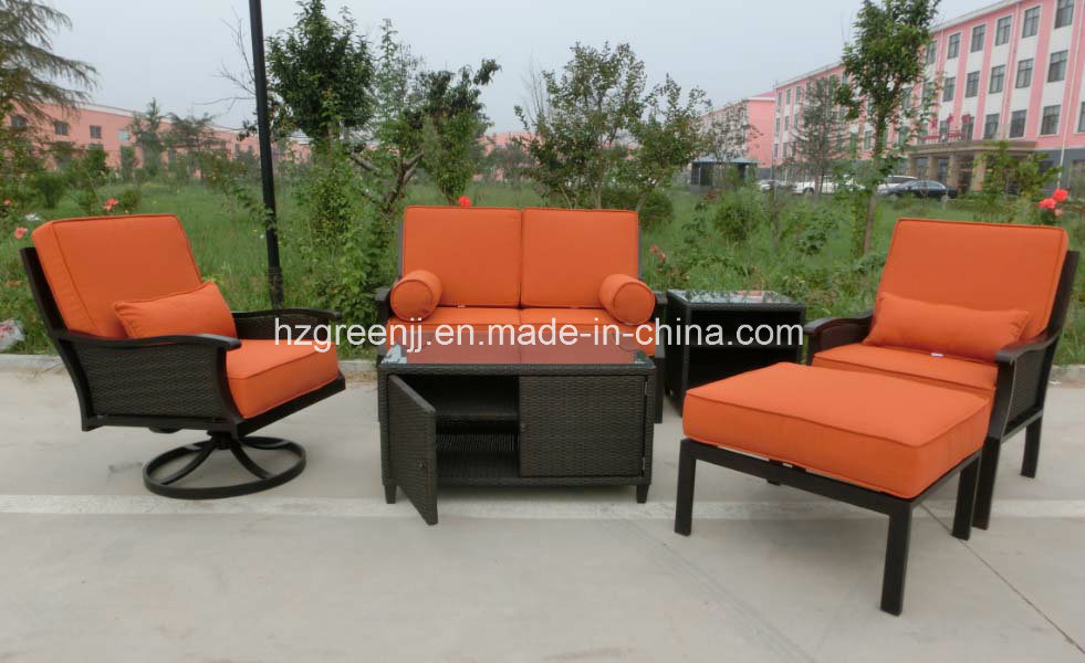 Swivel Chair Sofa Set with Storage Table Garden Rattan furniture