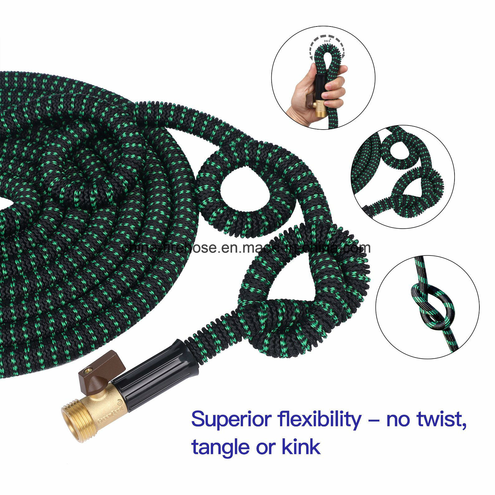 50′ Expandable Hose. Water Hose, 8 Set Spray, Hanger. Garden Hose with 3 Layer Latex Inner Tube, Solid Brass Connectors,Strongest Expanding Hose on The Market F