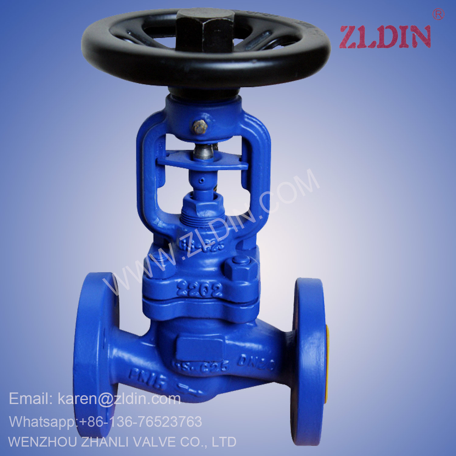 DIN Std. Pn100 Wj41h GS-C25 Bellows Globe Valve for Cryogenic System Wenzhou Valve