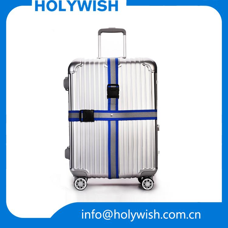 Travel Customized Polyester Reflective Suitcase Strap Luggage Belt with Lock