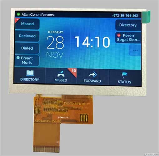 4.3 Inch TFT LCD Display Module Capacitive Touch Pcap Optional