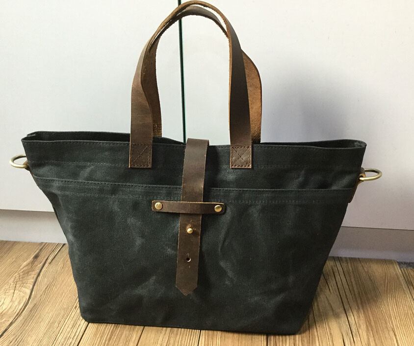 Custom High Quality Waxed Canvas Tote Bag with Leather Straps