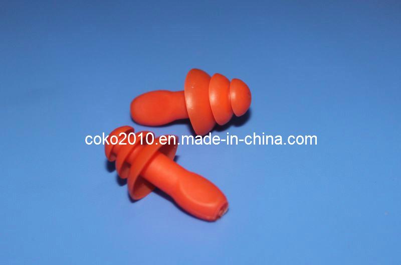 Orange Swimming Thrre Flange Silicon Earplugs