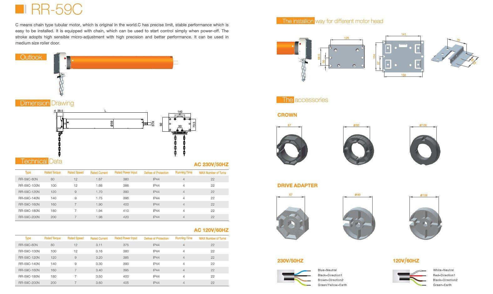35/45/59/92mm Electric Roller Shutter Tubular Motor (HFM01)