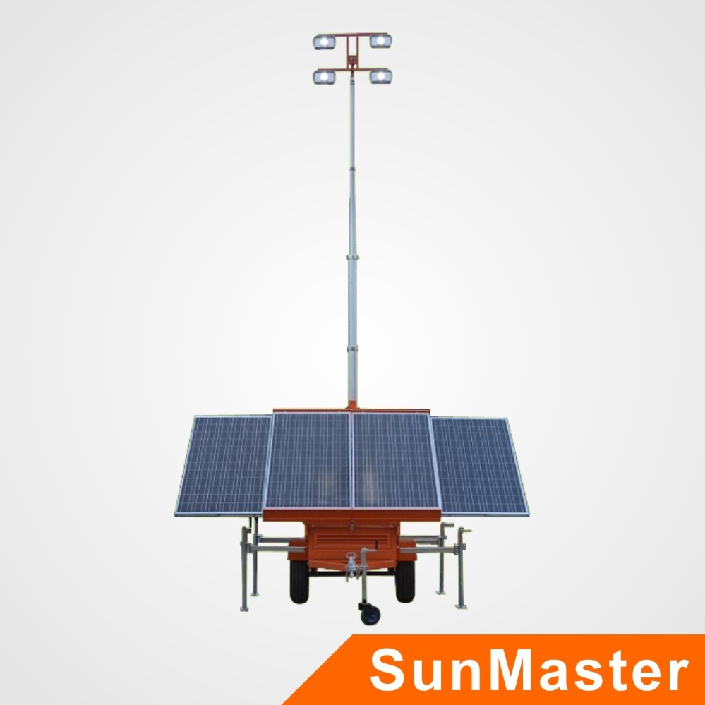 Mobile LED Light Tower with Solar System