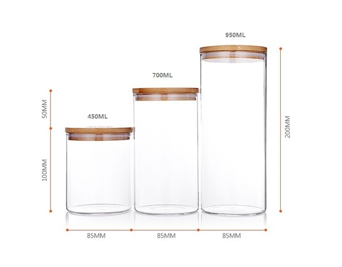 Glass Jar, Food Jar, Kitchenware Storage Can with Hermetic Seal