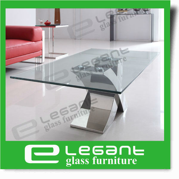 Clear Tempered Glass Table with Polished Stainless Steel Base