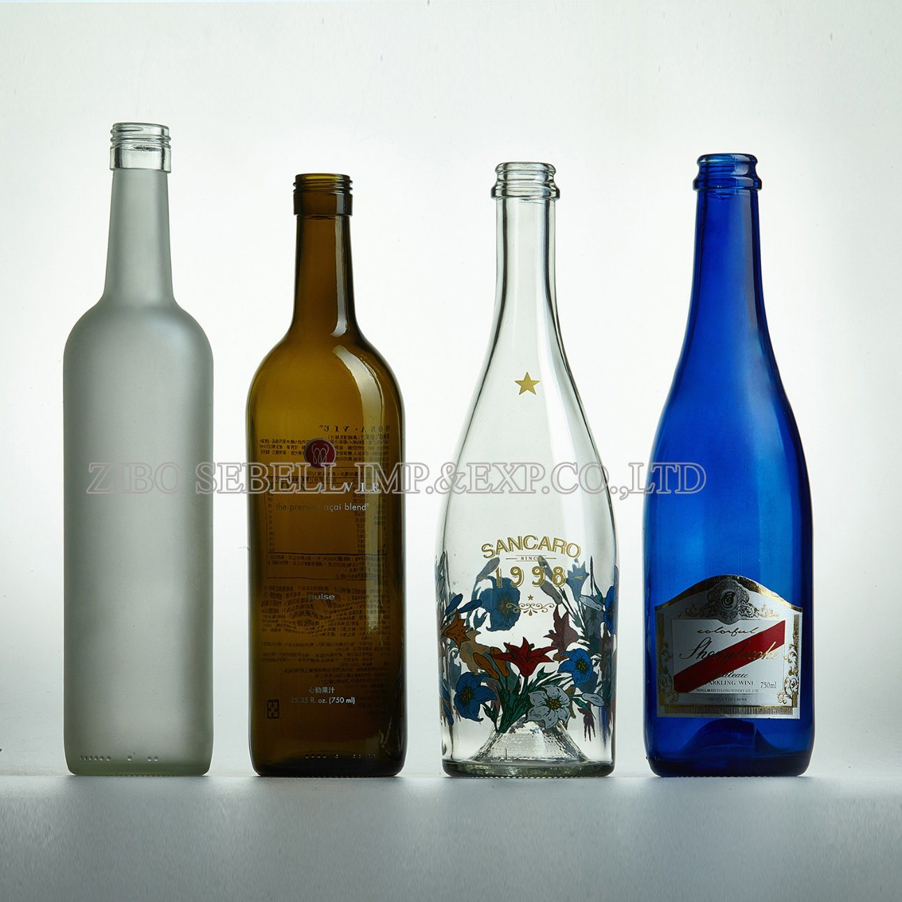 Deep Processing Glass Bottles with Frost, Printing, Color Spraying