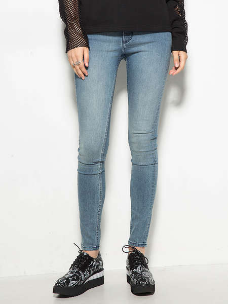 Hot Selling Fashion Damaged Plain Skinny Women Jeans