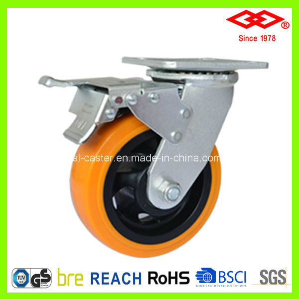 200mm Swivel Plate with Brake Yellow PU Wheel Castor (P701-36FA200X50S)