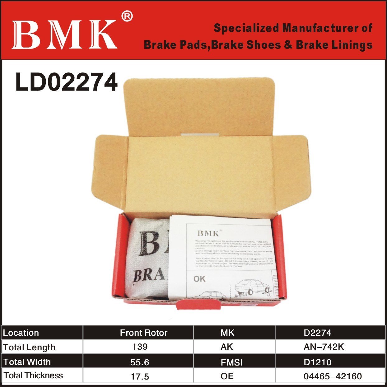 Premium Semi-Metallic Brake Pads (D2274)