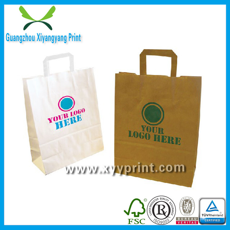 Custom Flat Handle Kraft Paper Shopping Bag with Window