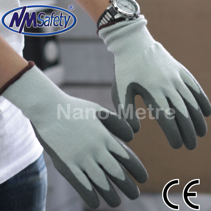 Nmsafety Insulate Nappy Liner Latex Coating Winter Safety Work Gloves