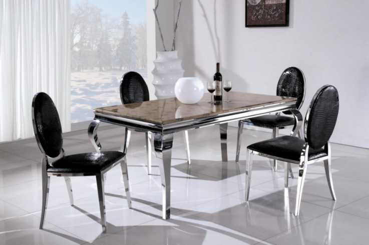 China Mordern Stainless Steel Marble Dining Table And Chairs 752 China M