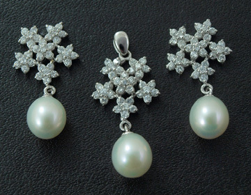 New Fashion Silver Jewelry Set/ Freshwater Pearl Pendant and Earring