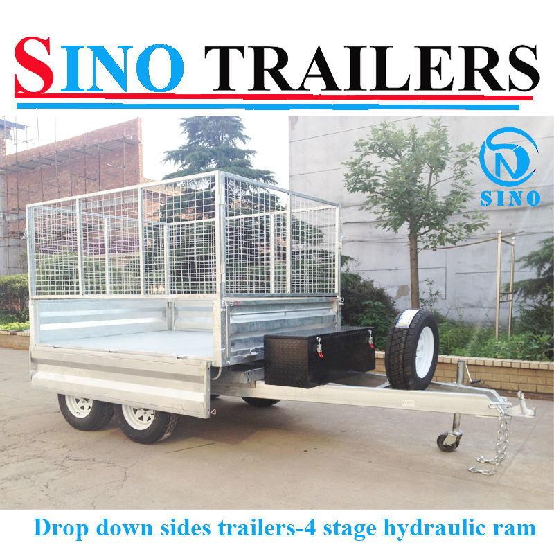 Drop Down Side Double Axle Hydraulic Trailer