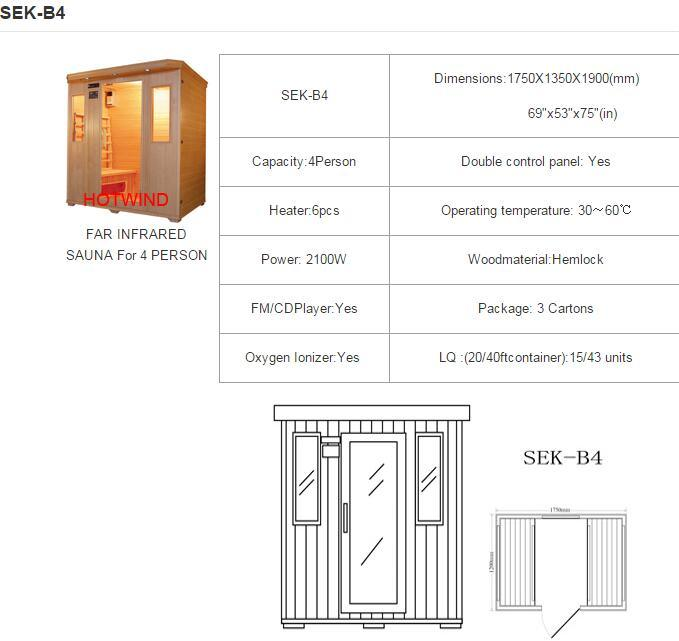 2017 Hotwind Hemlock Far Infrared Sauna for 4 Person (SEK-B4)