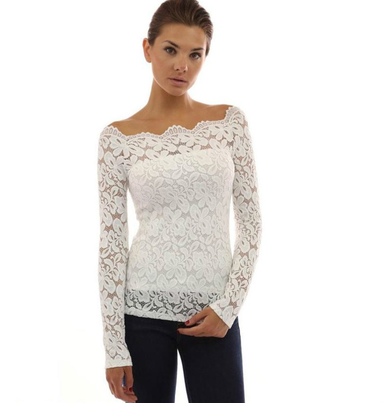 Ladies White See Through off Shoulder Lace Tops Latest Design
