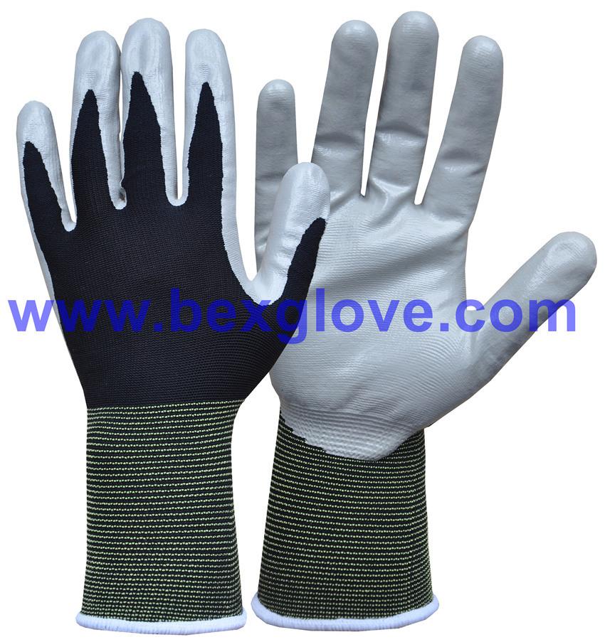 13 Gauge Nylon Soft Nitrile Coating Safety Gloves