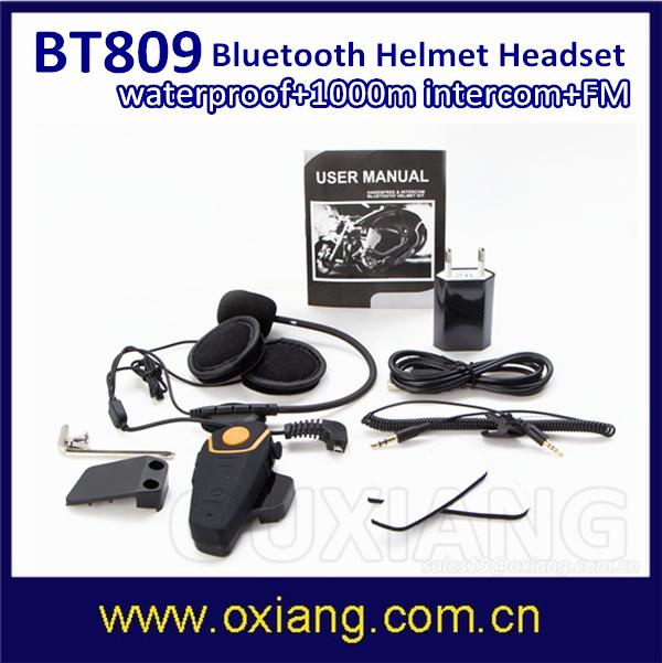 1000m Waterproof Motorcycle Helmet Bluetooth Intercom Headset FM Radio Bt Interphone