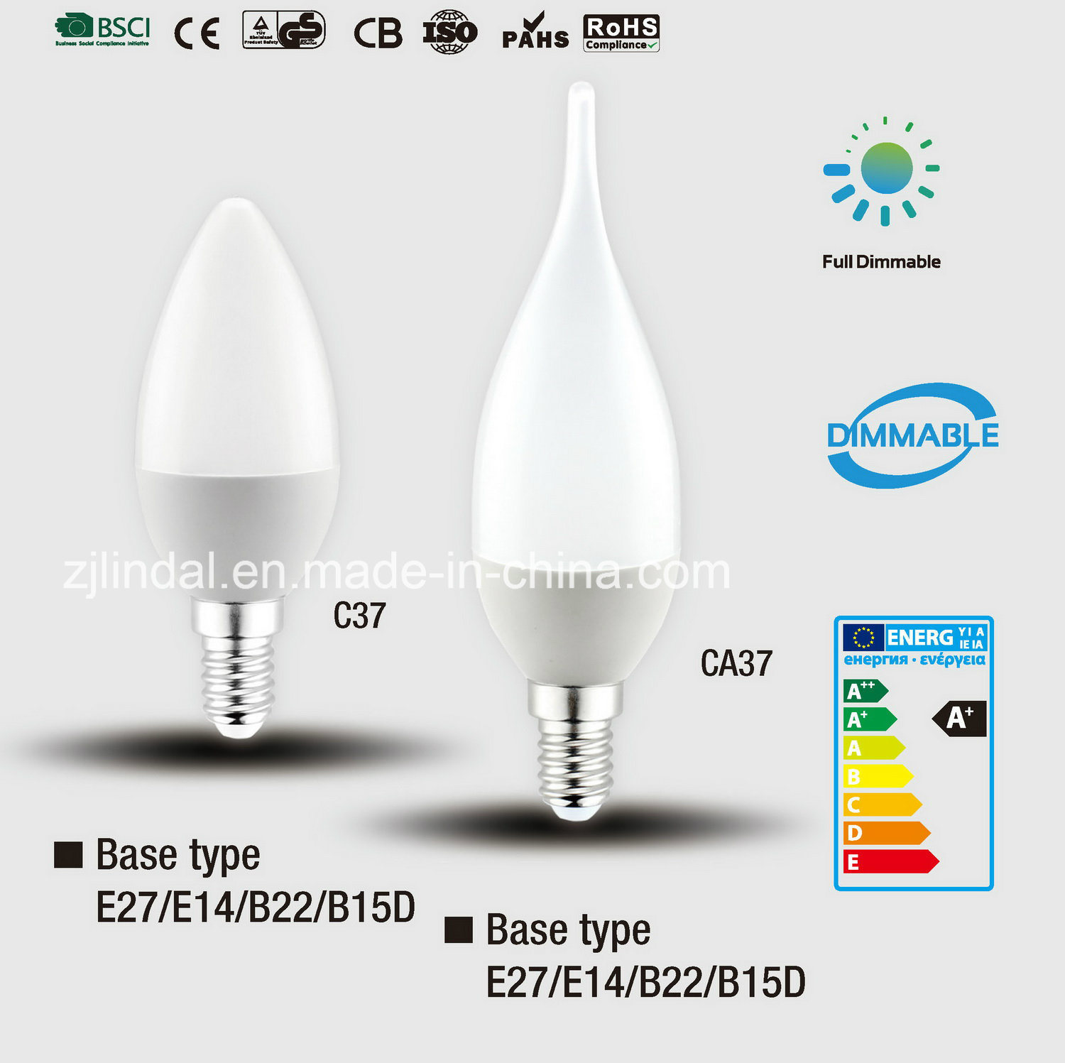 Dimmable LED Candle Bulb C37-Sbl