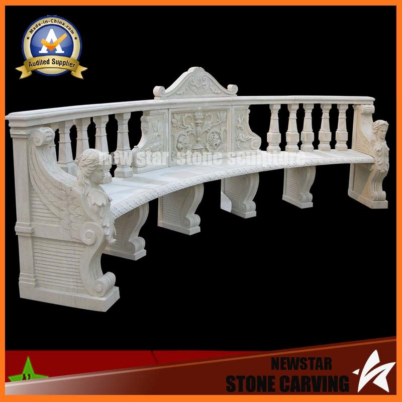 White Marble Carving Stone Bench for Garden Decoration (NS-11B3)