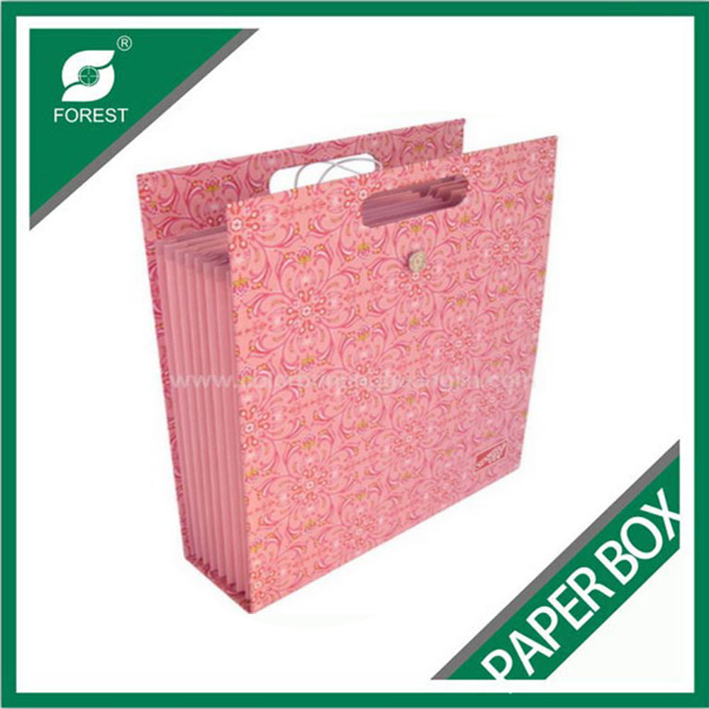 Fancy Pink Paper Shopping Bag with Handle