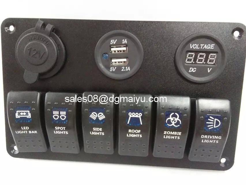 6 Gang Rocker Switch Panel/Cigarette Socket/USB Charger Panel for Marine/Boat