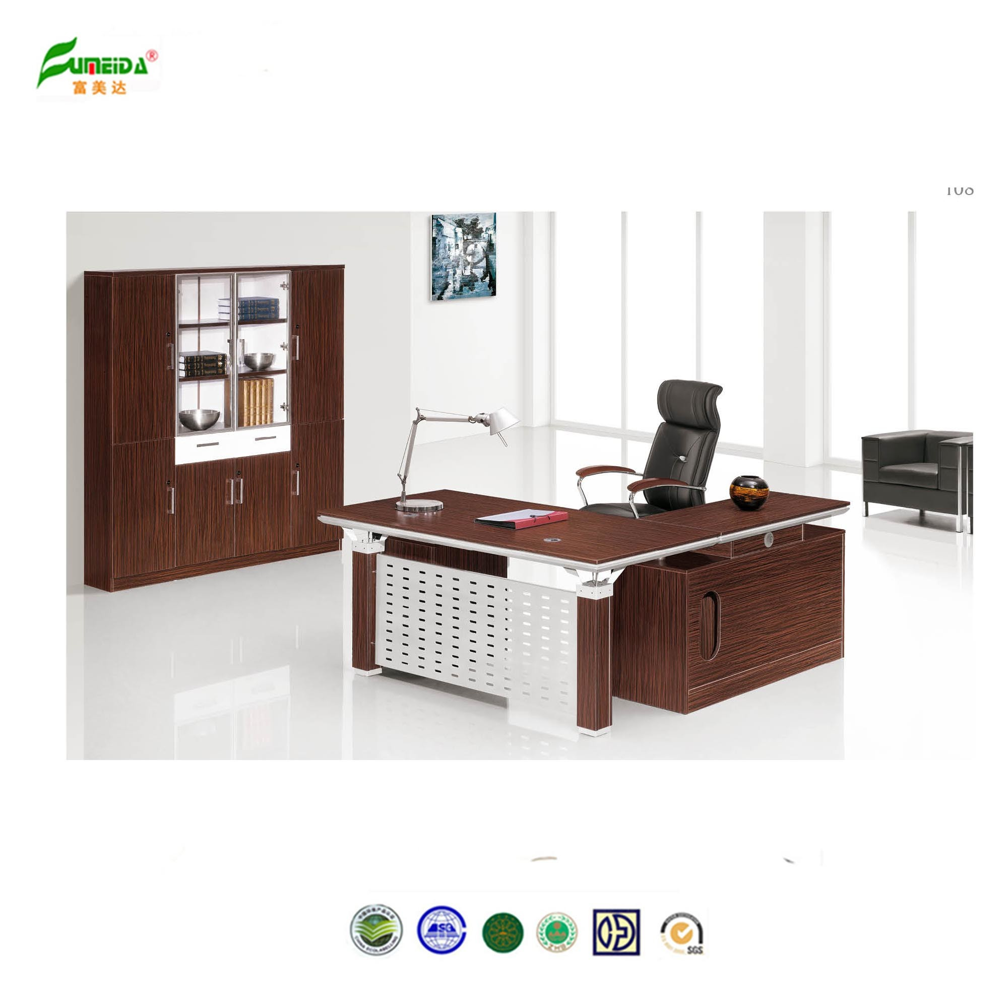 2015 Wood Office Desk Connect by Double Steel Support Office Furniture