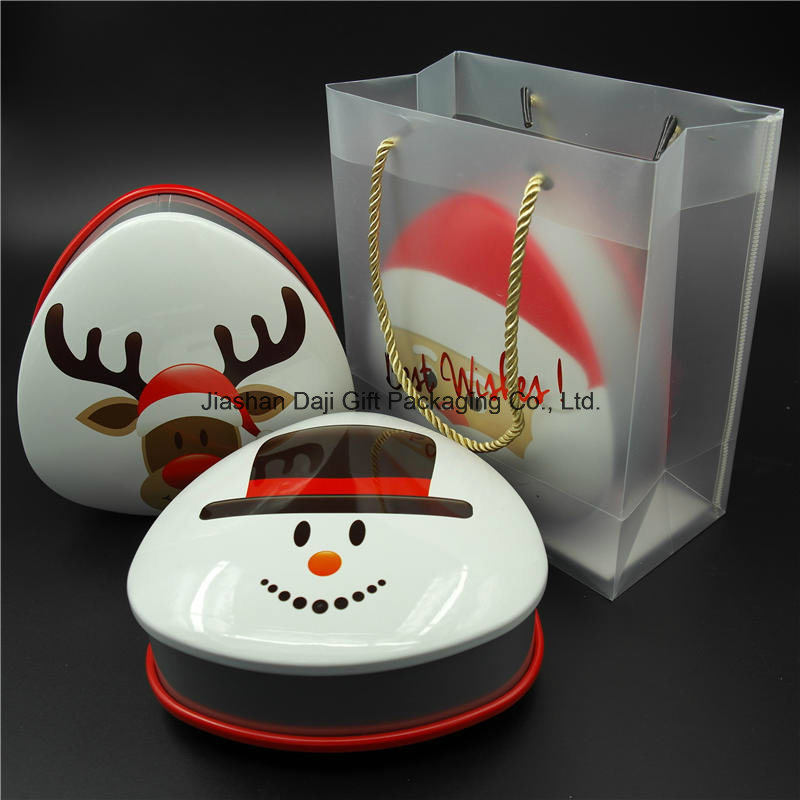 Christmas Heart Metal Cookie Candy Gift Can Tin Box (T001S-V20)