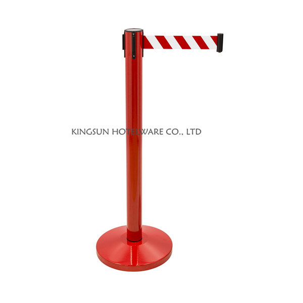 Decoration Red Pole Belt Stanchion Parking Barrier