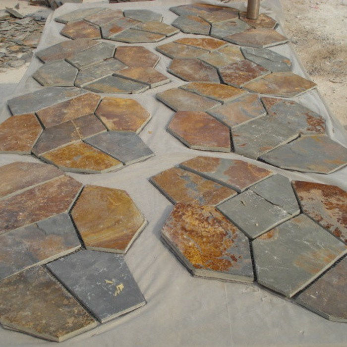 Natural Stone Rusty Meshed Slate Paving Tile for Outdoor